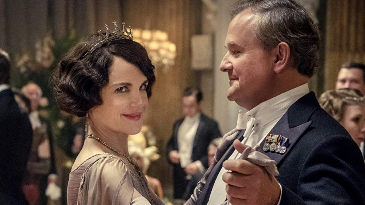 Cora Crawley (Elizabeth McGovern) and Robert Crawley (Hugh Bonneville) enjoy a spin around the dance floor in Downton Abbey.