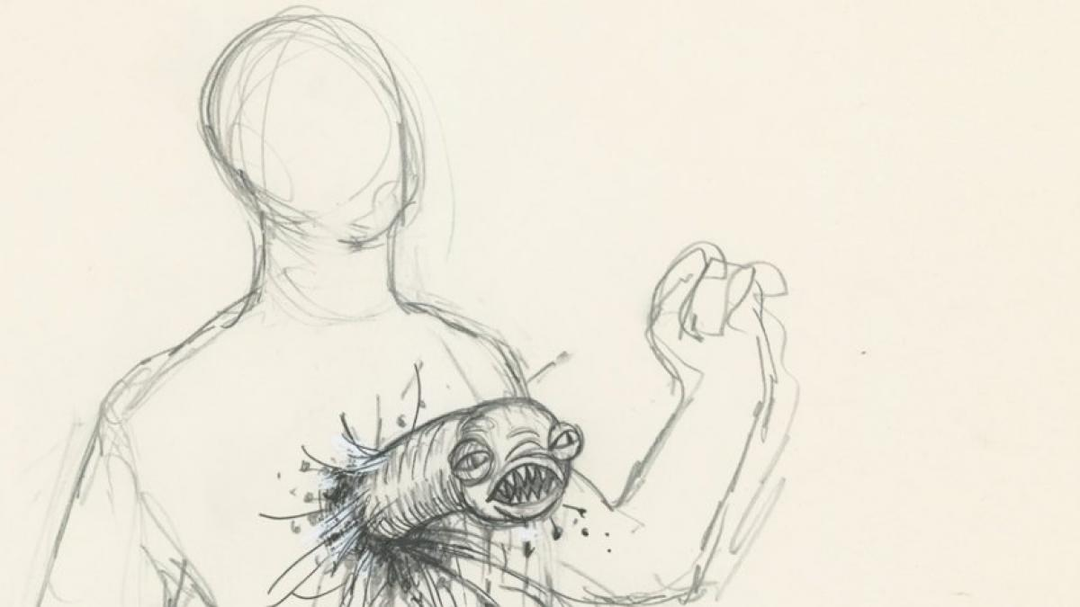 "An original conceptual drawing depicting a ""chestburster"" as seen in Memory: The Origins of Alien."