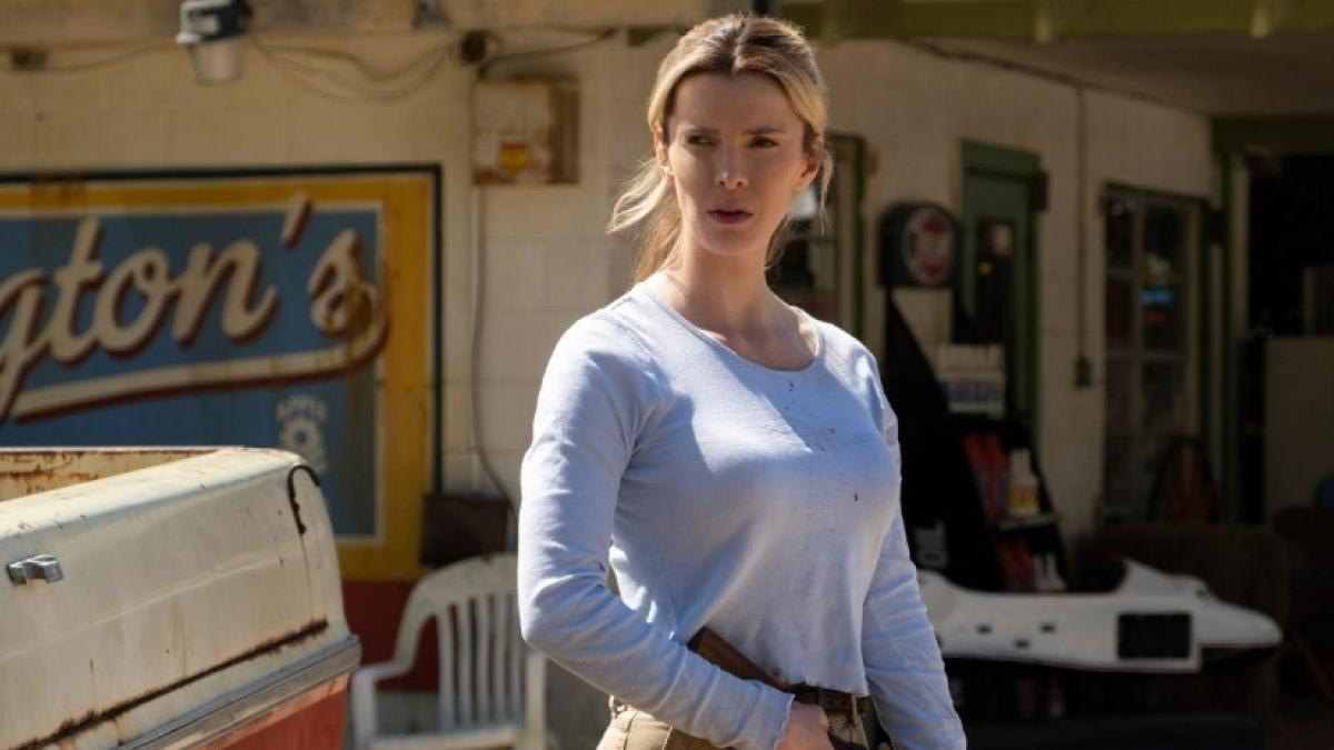 Crystal (Betty Gilpin) turns predators into prey in Craig Zobel's 'The Hunt'.