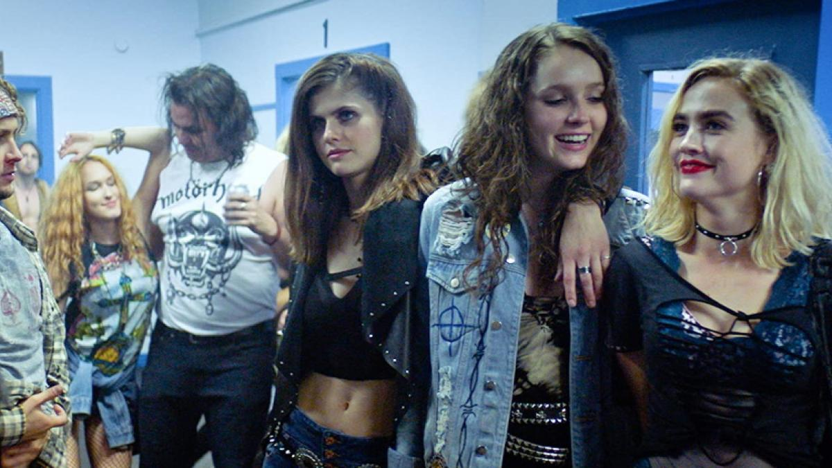 Three heavy metal fans (right to left: Maddie Hasson, Amy Forsyth, and Alexandra Daddario) embark on a night to remember in Marc Meyers' 'We Summon the Darkness'.