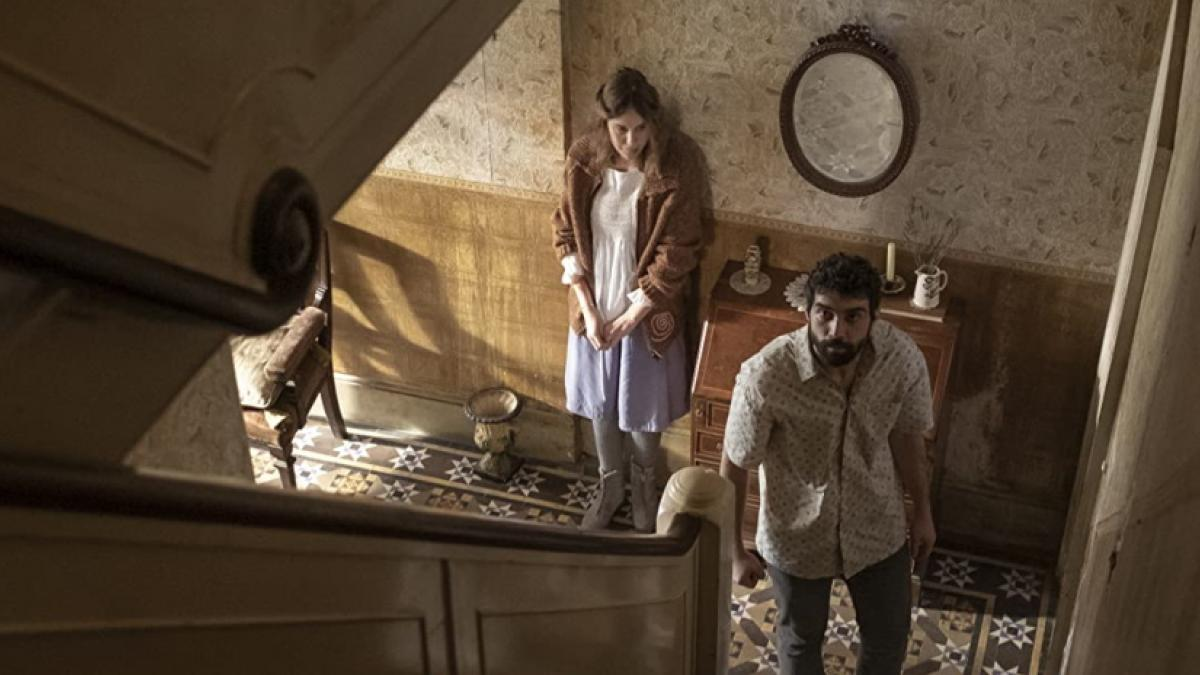 Carla Juri (left) and Alec Secareanu are uneasy roommates (of a sort) in Romola Garai's 'Amulet'.
