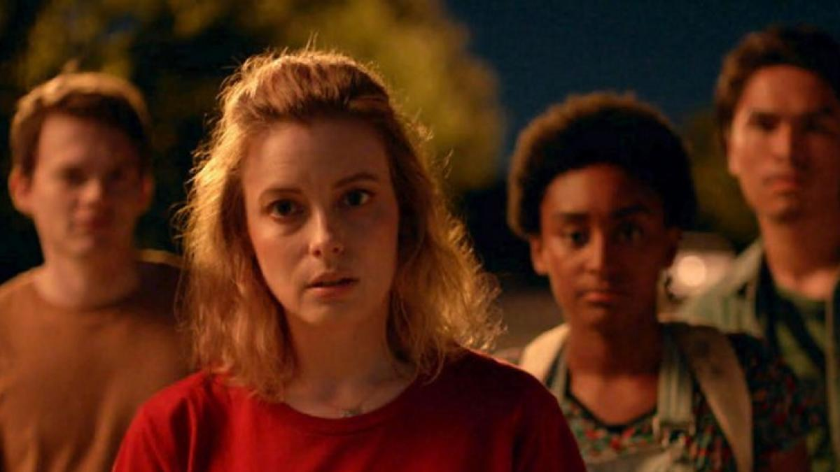 Gillian Jacobs (front center) is a disillusioned writer who returns to her alma matter in Kris Rey's 'I Used to Go Here'.