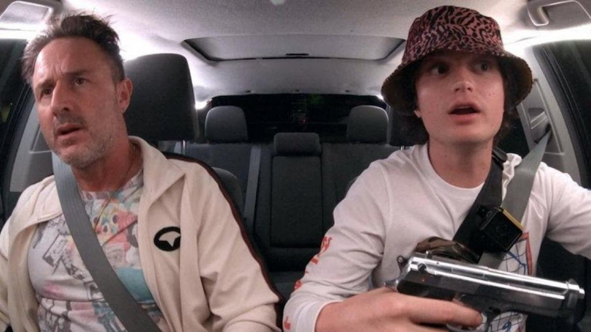 Joe Keery (right) is a rideshare driver in search of viral fame in Eugene Kotlyarenko's 'Spree'.