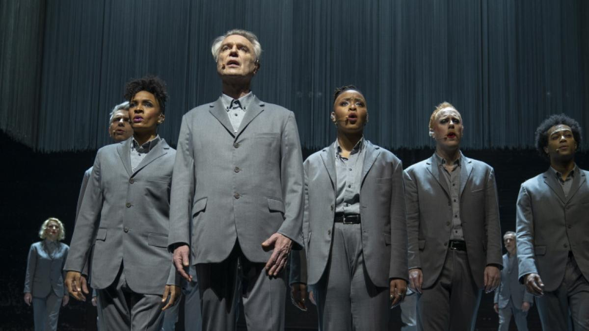 Director Spike Lee gives cinematic form to a David Byrne (center front) performance in 'David Byrne's American Utopia'.