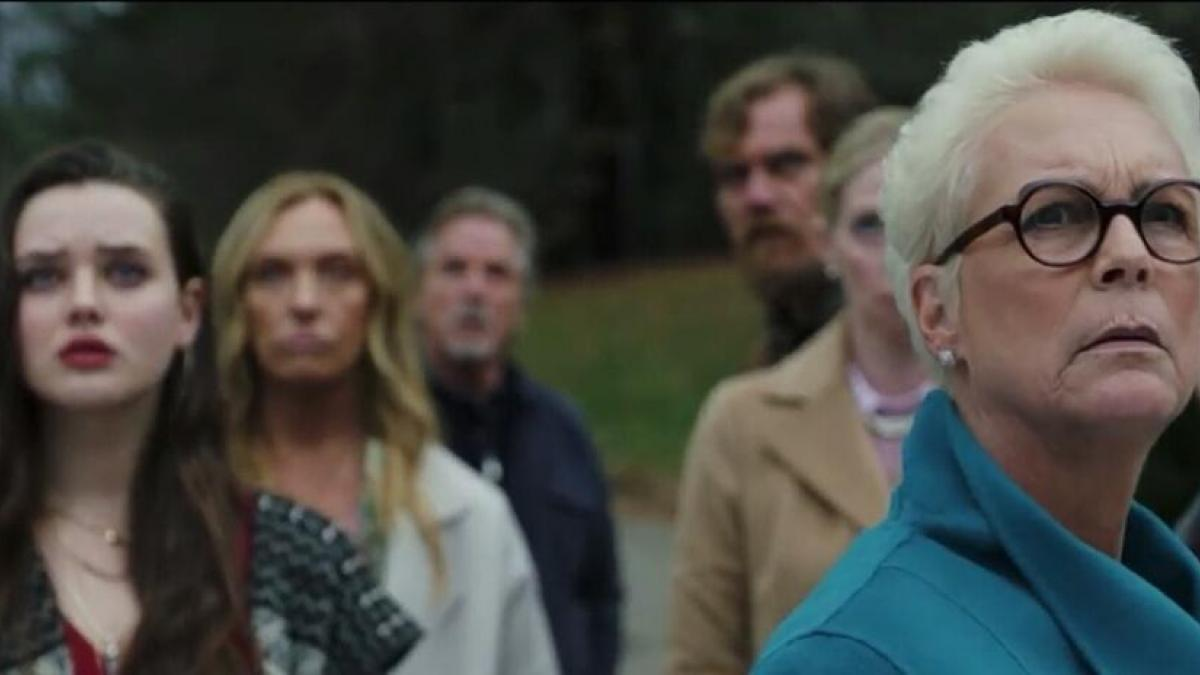 Eldest daughter Linda (Jamie Lee Curtis, right foreground) and the other members of the Thronby clan are all suspects in Rian Johnson's 'Knives Out'.