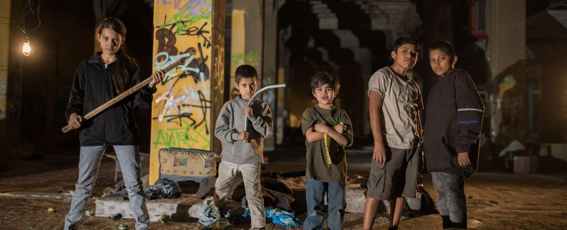 Estralla (Paola Lara, left) and her pint-sized gang face down the terrors of the drug war in Tigers Are Not Afraid.
