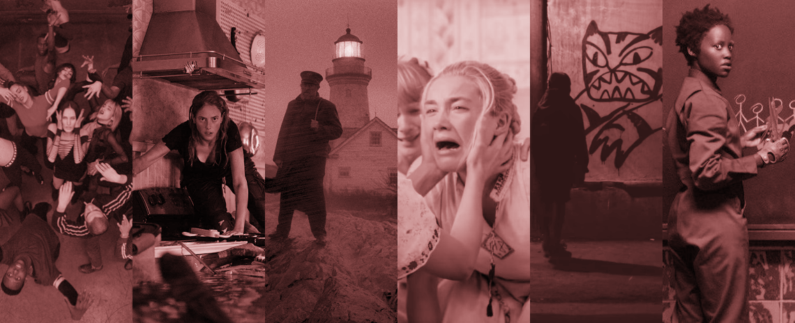 A collage combining still images from 'Climax', 'Crawl', 'The Lighthouse', 'Midsommar, 'Tigers Are Not Afraid', and 'Us'.