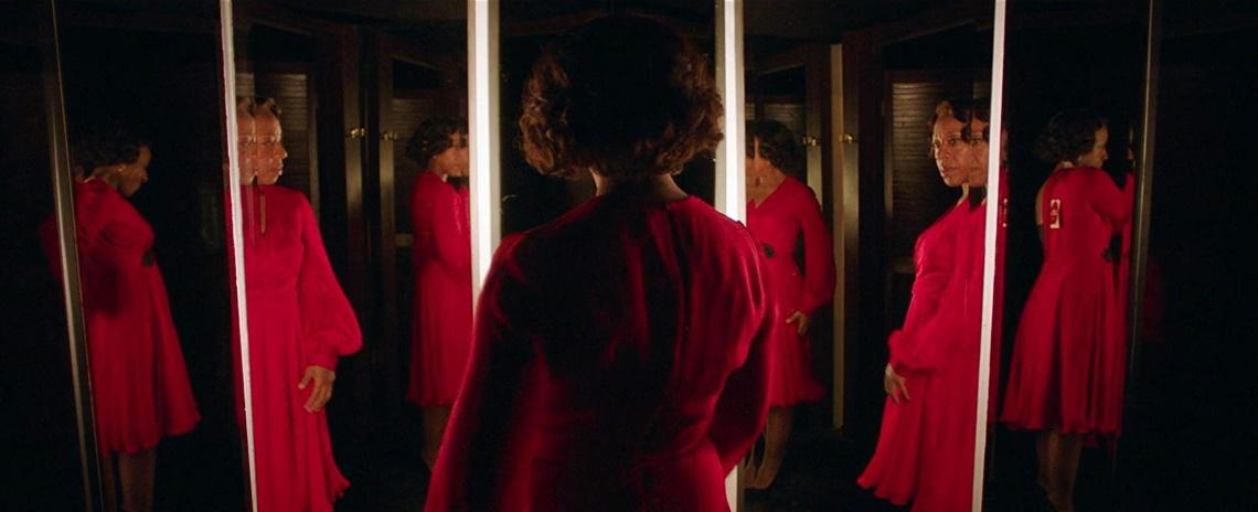 Sheila (Marianne Jean-Baptiste) says yes to the dress in Peter Strickland's 'In Fabric'.