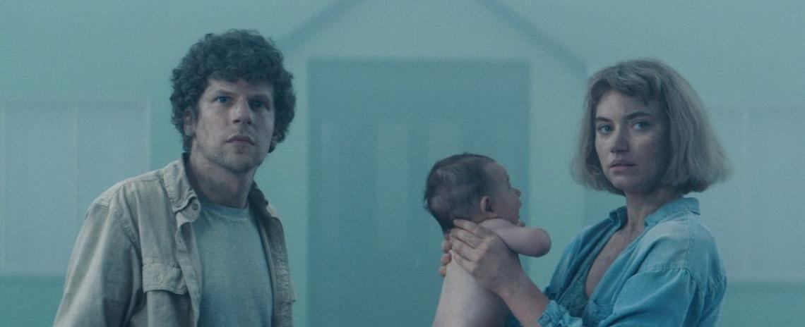 Tom (Jesse Eisenberg, left) and Gemma (Imogen Poots) are trapped in a suburban hell in Lorcan Finnegan's 'Vivarium'.